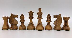 Vintage Staunton Lardy Chess Set. Glass-eye knights. Olive Wood & Palisander