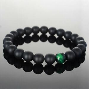 8mm Black Frosted Agate Green Tiger's Eye Bracelet 7.5 Inches Wrist Meditation