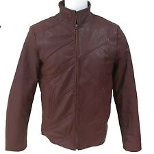 Sphirio Soft Genuine Lambskin Leather Men's Jacket Wine Red Color Size Large