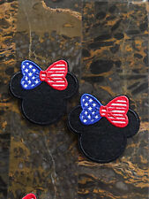 """2 American Flag Minnie Mouse Iron Sew On Patch 2.5"""" L x 2.75"""" W Same Day Ship"""