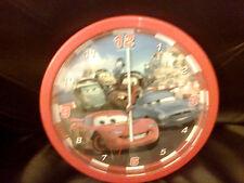 CARS DISNEY PIXAR WALL CLOCK RED VINTAGE 24CM DIAMETER WORKING