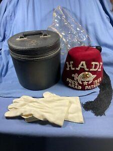Vintage 1966 Masonic Shriner HADI President ARAB PATROL Fez Hat W/CASE & Gloves