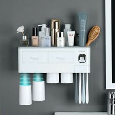 Automatic Toothpaste Dispenser Toothbrush Holder Storage Rack Wall Mount Shelf