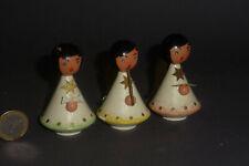 3 alte Engel singend & mit Flöte - Holz mit Blechflügeln