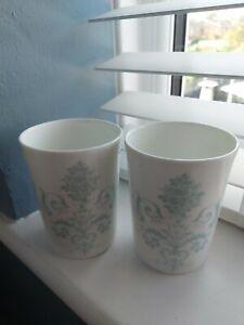2 X LAURA ASHLEY HOME WHITE WITH BLUE JOSETTE BONE CHINA JARS*BATHROOM/BEDROOM