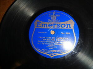"Great WW1 EMERSON 9"" 78/Peerless Quartet w.Emerson Military Band"