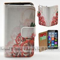 Wallet Phone Case Flip Cover for Microsoft Nokia Lumia 640 - Roses Illustration