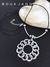 "Boho Lagenlook Long Statement Necklace 36"" Leather Large Chunky Circle Pendant"