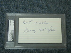 Geroge Mcafee Autographed 3x5 Index Card PSA Certified Encapsulated