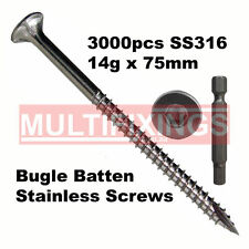 3000pcs - 14g x 75mm SS316 Stainless Stee Bugle Head Screws - Internal HEX Drive