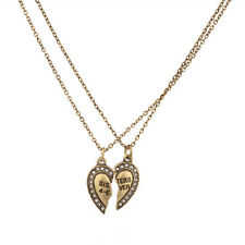 Sisters 4 Ever Broken Pave Heart BFF Best Friends Forever Necklace Set (2 PC)