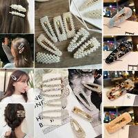 Vintage Leopard Hair Clip Hair Pin Bobby Comb Barrette Acetate Pearl Hair Access