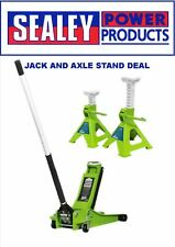 Sealey Green Hi-vis 2tonne Trolley Jack and Axle Stands