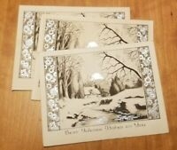 Vintage Silver Embossed Christmas Card Set of  3 Cottage snow scene NOS
