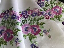 GORGEOUS VINTAGE IRISH LINEN HAND EMBROIDERED TABLECLOTH~LOVELY FLORAL DISPLAYS