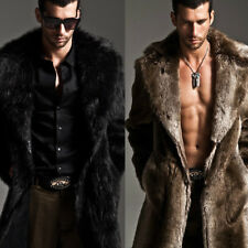 S-6XL Mens Long Style Solid Color Faux Fur Turn-down Collar Fashion Coat C165