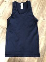 Small Womens Fabletics Musetta Openwork Seamless Navy Blue Tank Mesh Back