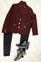 Eileen Fisher Jumper Cardigan Burgundy Sz M Long Sleeve Merino Wool Mix