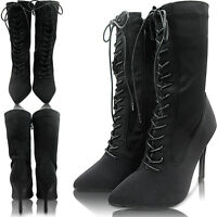 NEW WOMENS LADIES POINTED TOE HIGH HEEL STILETTO LACE UP FITTED ANKLE BOOTS SIZE