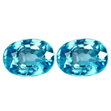 2.78 TCW IF PAIR Natural Blue ZIRCON for Jewelry Setting Oval Cut 7.02x5.09mm