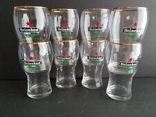 """Heineken Red Star Collector Beer Glass Gold Rim 5"""" Tall"""