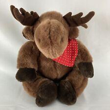 Mary Meyer Moose Red White Polka Dot Bandana Brown 1991 Plush Stuffed Animal Toy