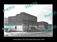 OLD LARGE HISTORIC PHOTO OF GALENA KANSAS, THE MAIN STREET & STORES c1950