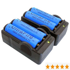 4PCS 3200mAh 3.7V 18650 Battery +2PCS Dual Charger for Headlamp Flashlight Torch