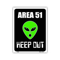 """Novelty Sign - Area 51, Aliens, Keep Out - 12"""" x 9"""" Metal"""