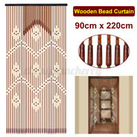 90x220cm 31 Lines Bamboo Wooden Bead String Door Curtain Blinds Movable