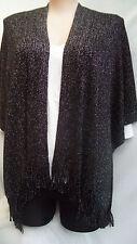 Noni B Black silver metalic sparkle  LONG knit Wrap shawl cardigan 14 16 18 NEW