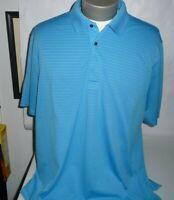 Greg Norman Mens Play Dry Golf Polo Shirt Shark XL Blue Stripes Golf/Polo Casual