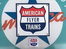 AMERICAN FLYER TRAINS toy train PORCELAIN coated 18 GAUGE sign INCLUDES magnet