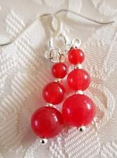 925 STERLING SILVER HOOKS DROP GEMSTONE BEADS EARRINGS ROUND RED RUBY GIFT IDEA