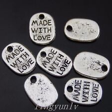 200 Pieces Silver MADE WITH LOVE Lettering Charms Pendants Fashion Jewelry 50015