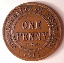 1911 AUSTRALIA PENNY - Key Date - HUGE BOOK VALUE - FREE SHIPPING #HV2