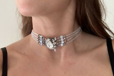 White / Silver Beaded Large Gem Choker Necklace