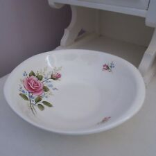 Large vintage cream oval bowl with pink roses British anchor Staffordshire