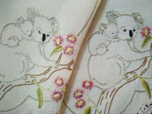 Australian Koala & Baby/ Red Flowering Gum  Vintage Hand Embroidered Runner
