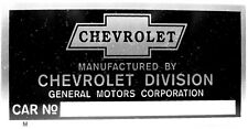 Chevrolet Division Car Truck Vin Model Serial Number Plate Tag Manufactured by