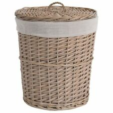 2Pcs Large Wicker Storage Basket with Lid Dirty Cloth  Handmade craft bag