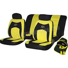 13Pc Cubierta de asiento de Coche Almohadillas de cinturón amarillo Guante rueda Cojines Interior Kit RS 81398C