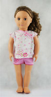 Fit For 18'' American Girl Pajamas Set Pink Floral Tops With Shorts Doll Clothes