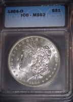 1904-O Morgan Silver Dollar ICG - MS62 , Way Clean for the Grade  Issue Free