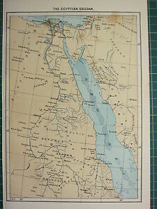 c1890 ANTIQUE MAP ~ THE EGYPTIAN SOUDAN ~ CAIRO NILE DELTA ALEXANDRIA EGYPT