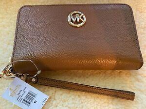 Michael Kors Fulton LG Flat Multifunction Phone Case Wallet Wristlet In Leather