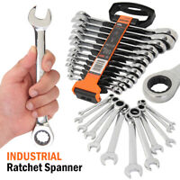 Metric Imperial SAE Ratchet Combination Spanner Set Gear Wrench Open End Inch 24