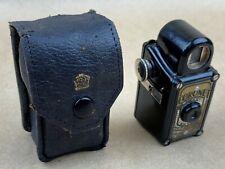 Coronet MIDGET Subminiature Camera Black Bakelite w/Leather Case - Cute !