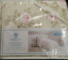 Simply Shabby Chic Twin Duvet Set Roses Tan Dutchess Blossom Cottage 2Pc