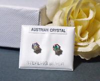 925 Sterling Silver Aurora Borealis Stud Earrings